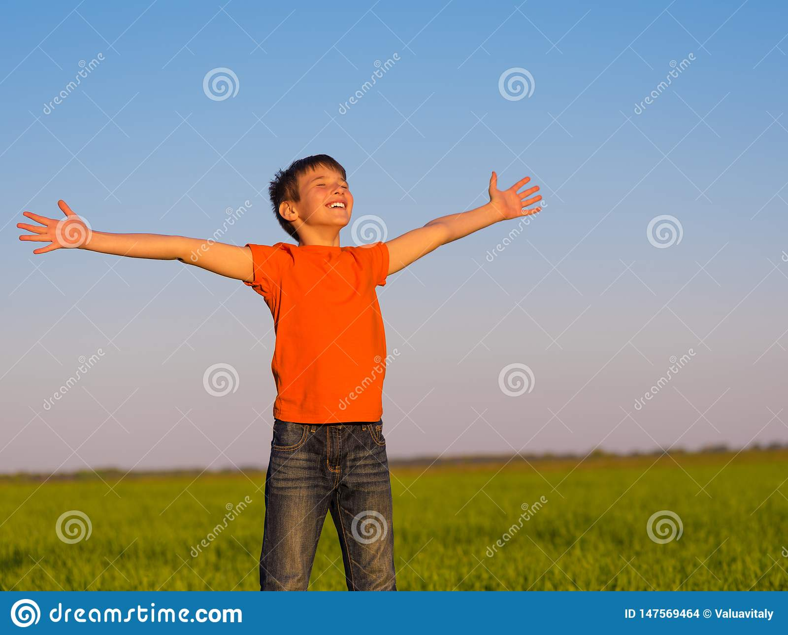 Happy person in the nature with raised arms