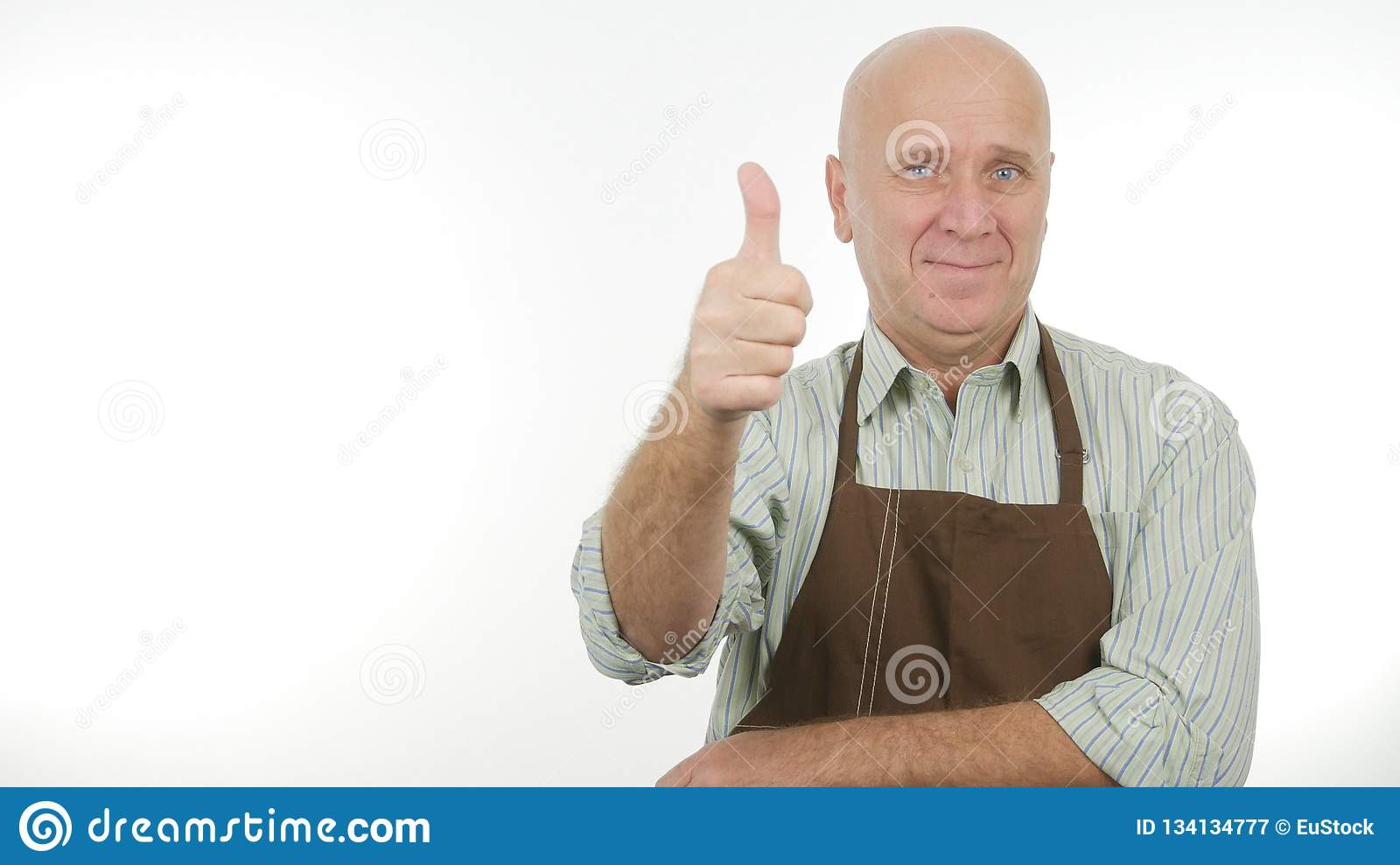 Happy Person Wearing Kitchen Apron Thumbs Up Good Job Sign