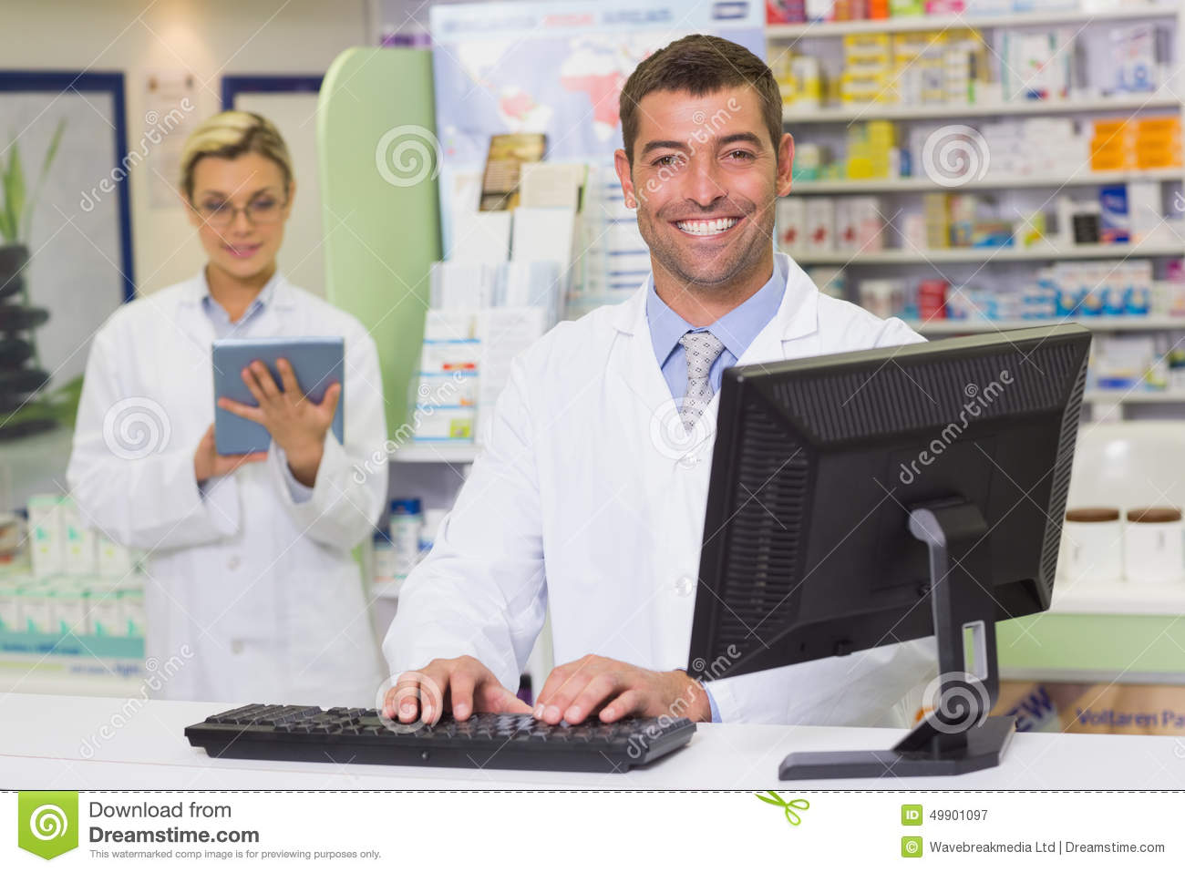 use of computers in pharmacy Pharmacy technicians support the work of pharmacists and other health professionals by performing a variety of pharmacy related functions, including dispensing prescription drugs and other medical devices to patients and instructing on their use.
