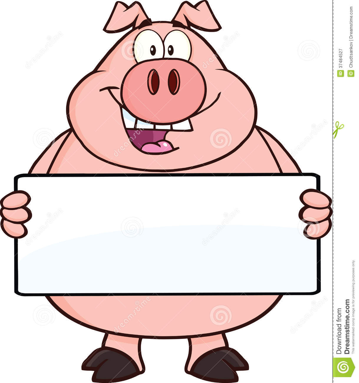 happy pig cartoon character holding a banner royalty free Pig Clip Art Pig Roast Silhouette