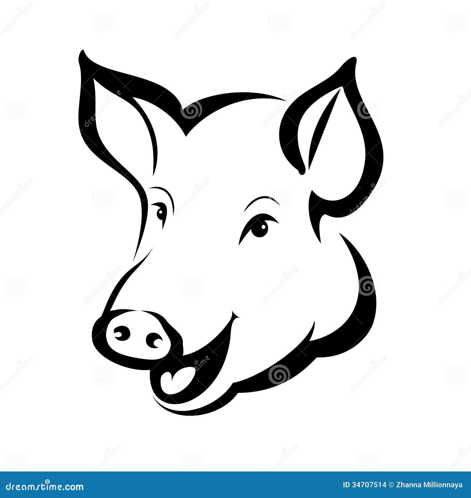 Happy Pig Head Portrait Stock Vector Image Of Domestic