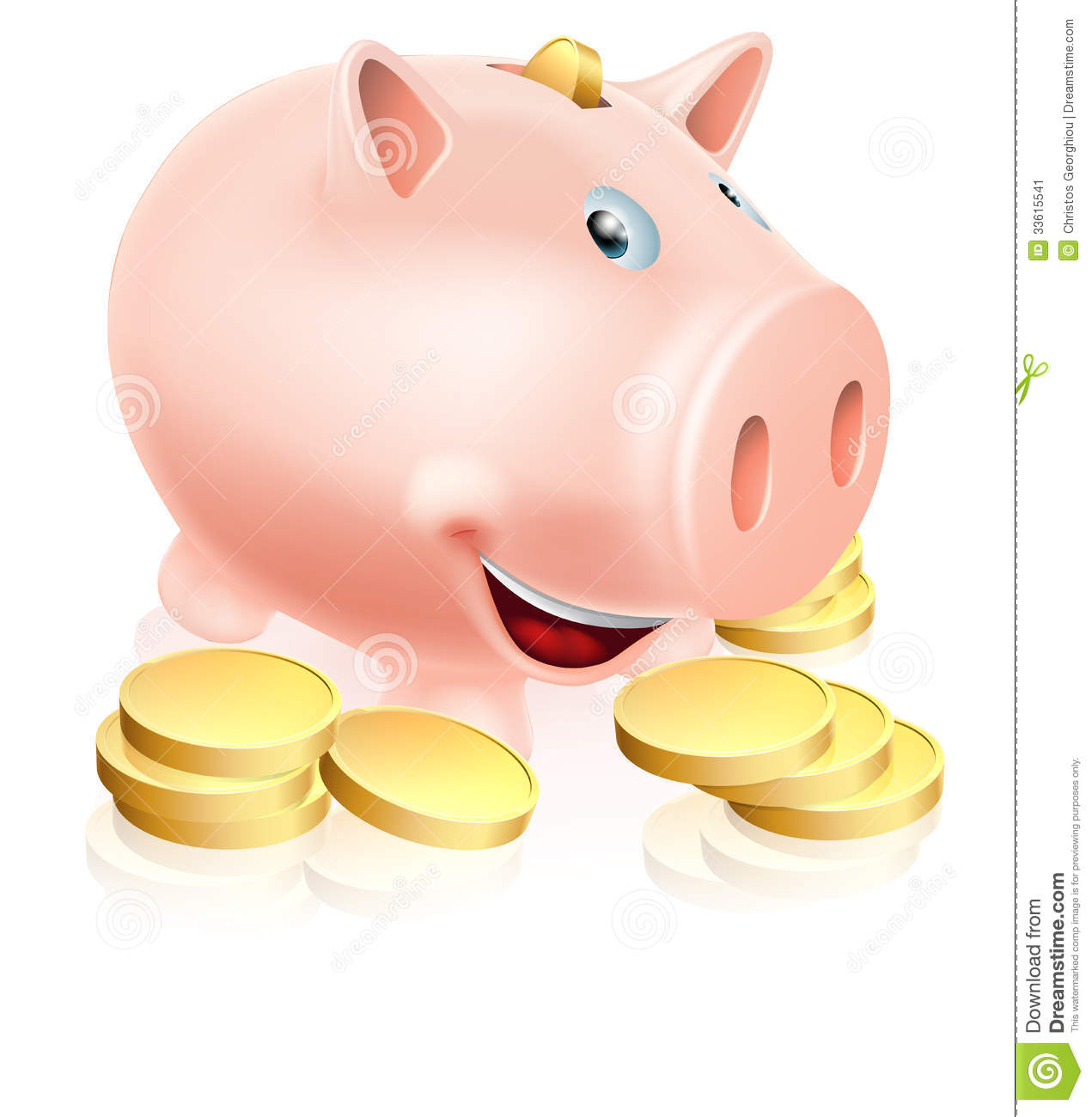 happy cartoon piggy bank money box with lots of gold coins.