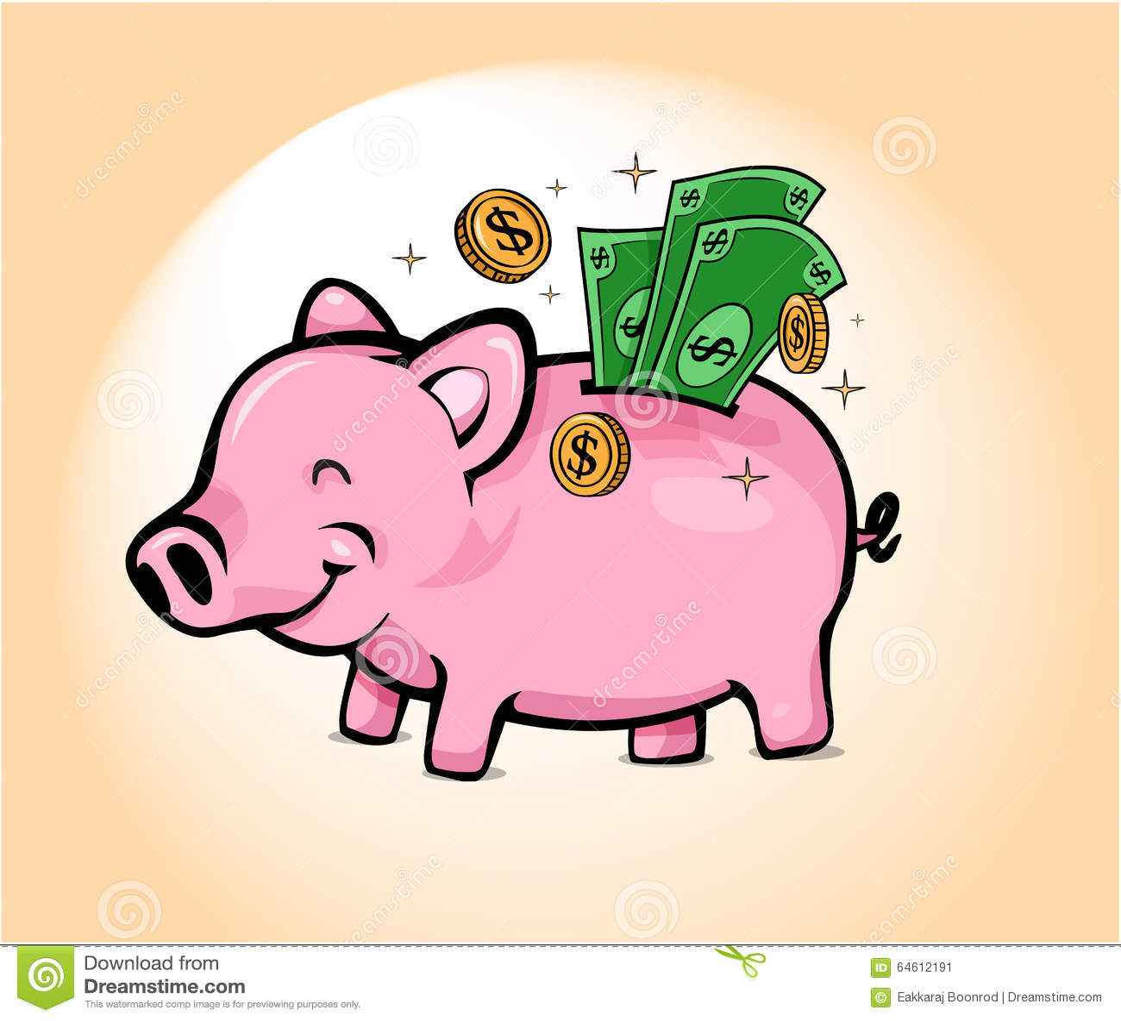 Happy Piggy Savings Bank Stock Vector