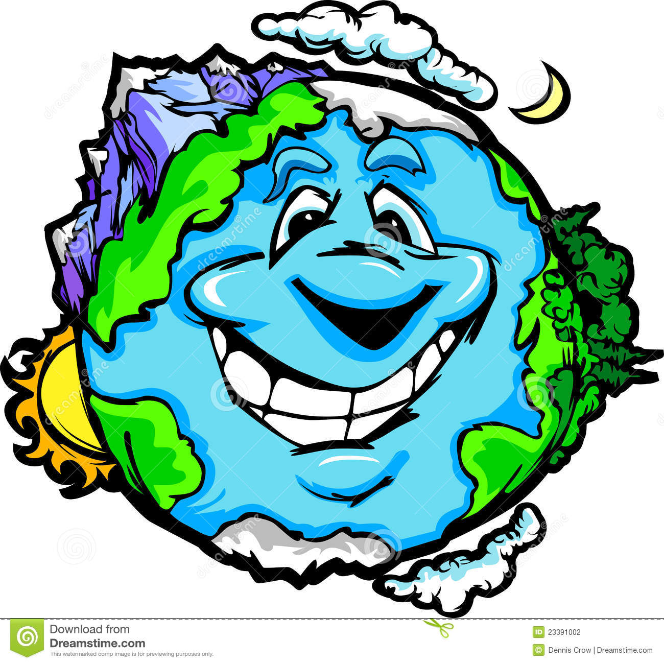 Happy Planet Earth With Mountains And Clouds Stock Photography - Image ...