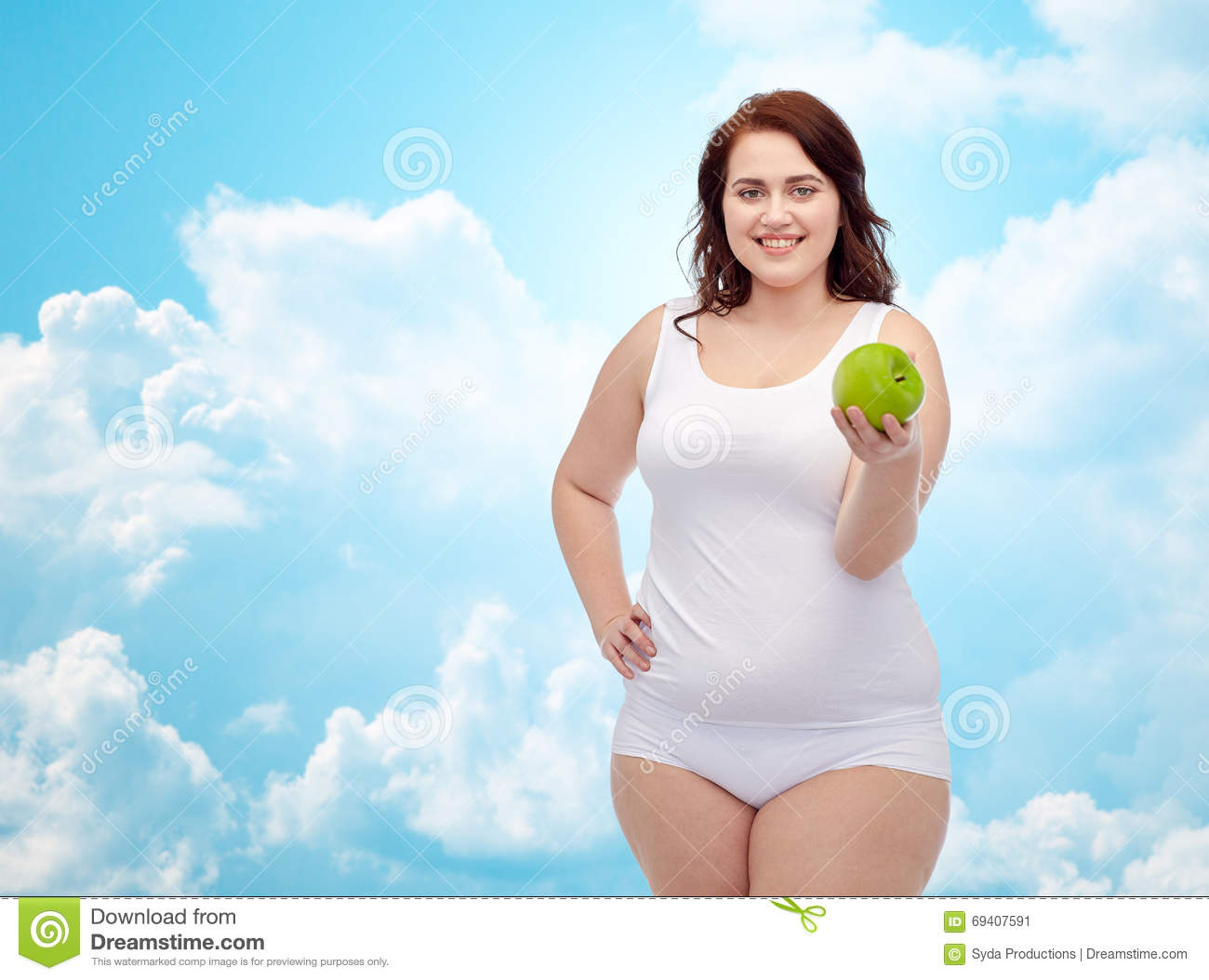 c6215fc5a22 Happy Plus Size Woman In Underwear With Apple Stock Image - Image of ...