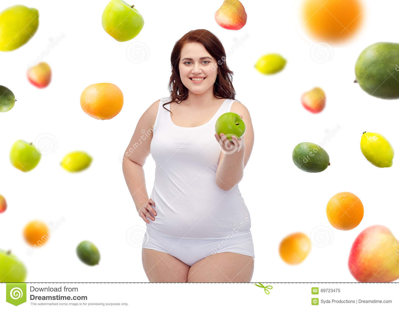 Happy Plus Size Woman In Underwear With Apple Stock Image ...