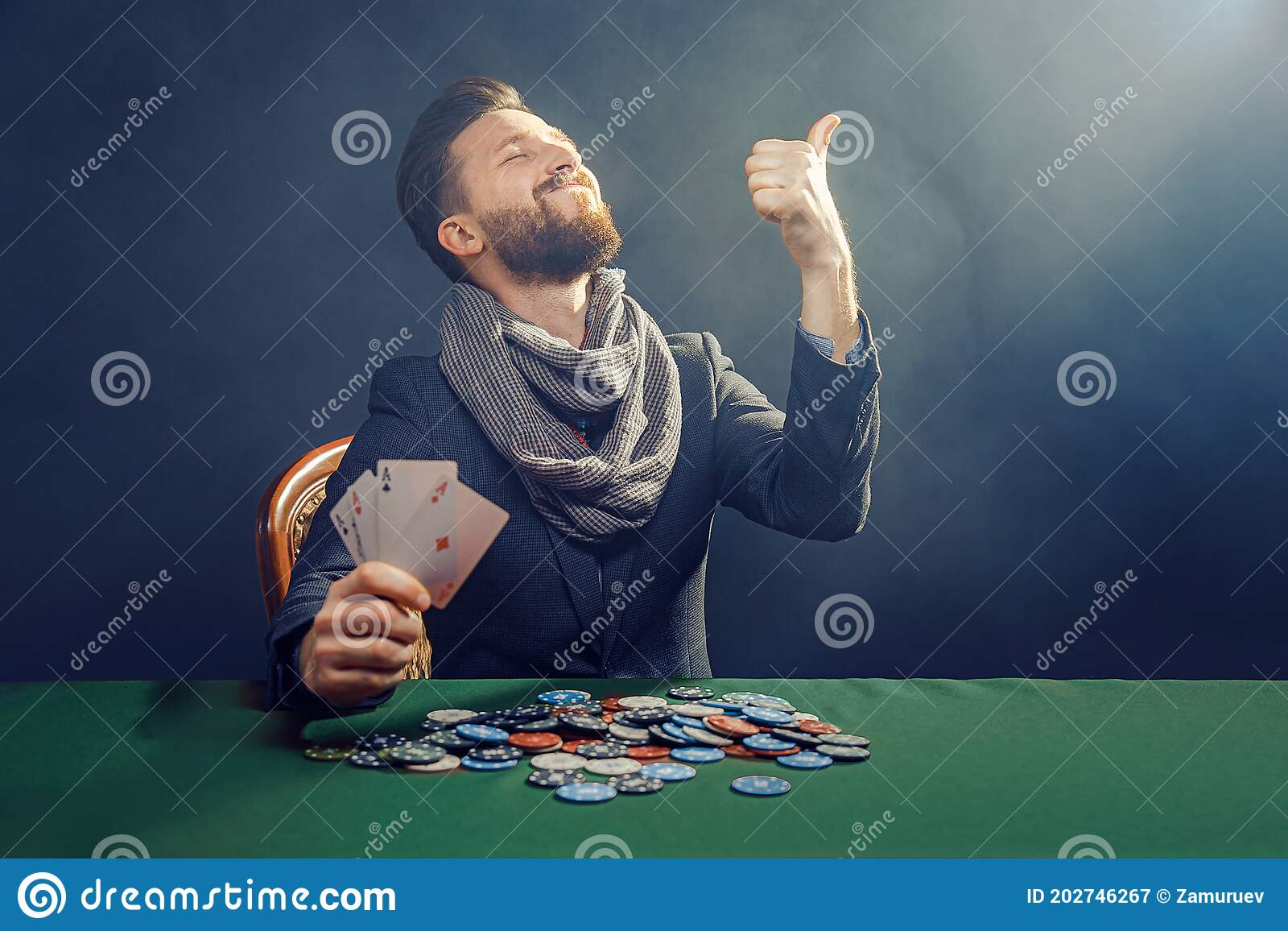Happy Poker Player Winning And Holding A Pair Of Aces Stock Image Image Of Hearts Game 202746267