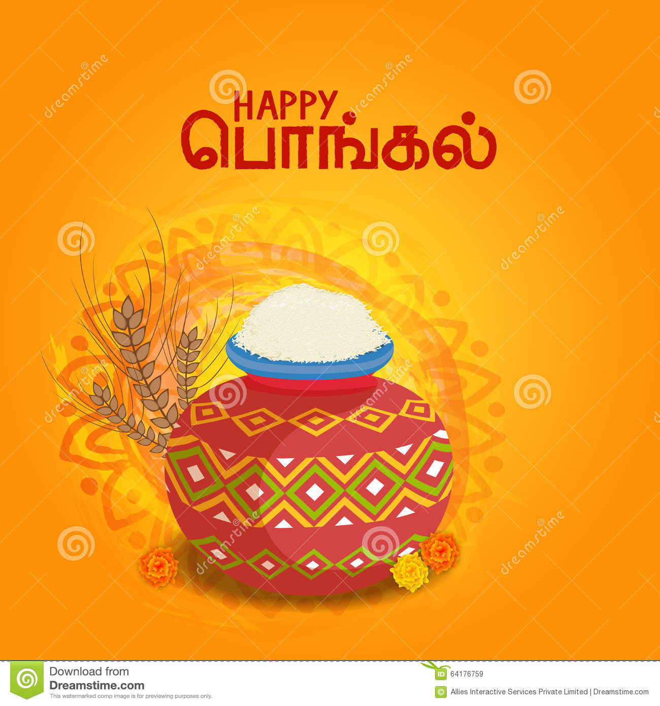 Happy Pongal Celebration Greeting Card Design Stock Illustration