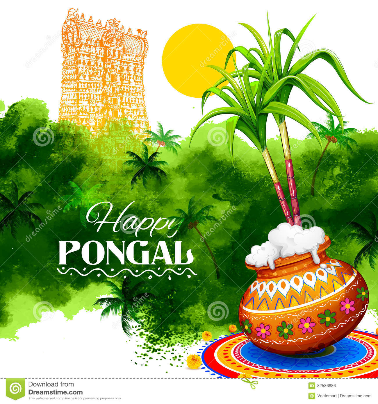 Happy Pongal Greeting Background Stock Vector Illustration Of