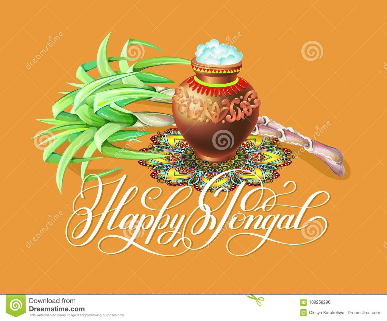 Happy Pongal Greeting Card To South Indian Winter Holiday Design