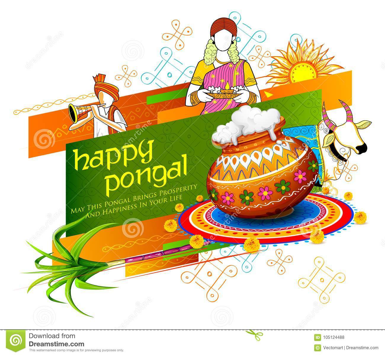 Happy Pongal Holiday Harvest Festival Of Tamil Nadu South India