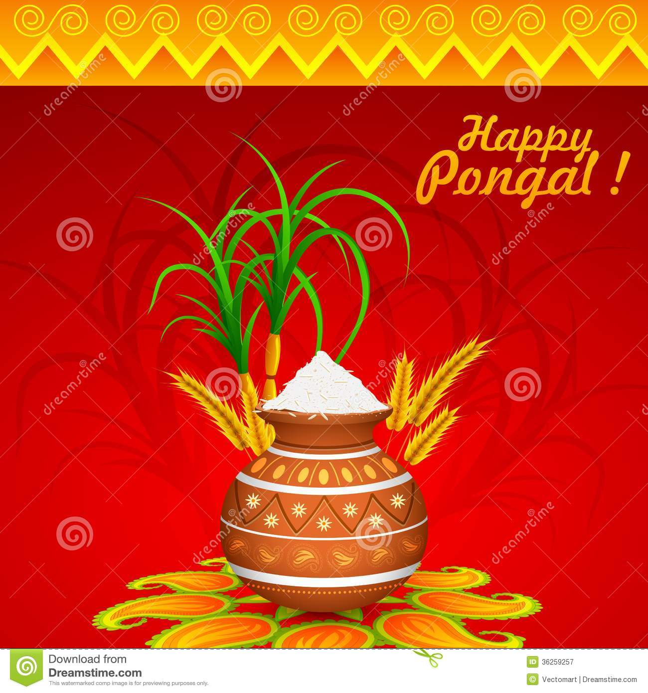 Happy Pongal Stock Vector Illustration Of Kalash Ethnic 36259257