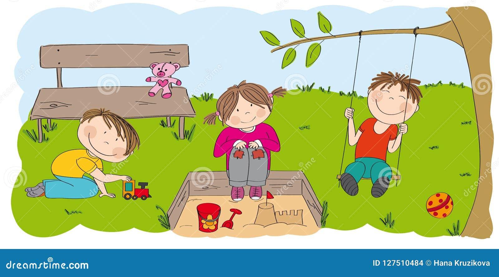 Happy preschool children playing outside in the park / garden.