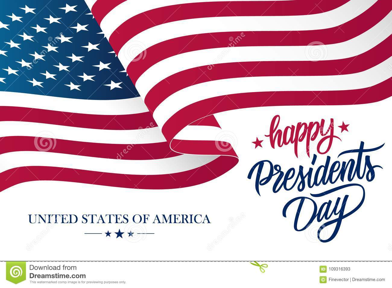 Happy Presidents Day Celebrate Banner With Waving United States