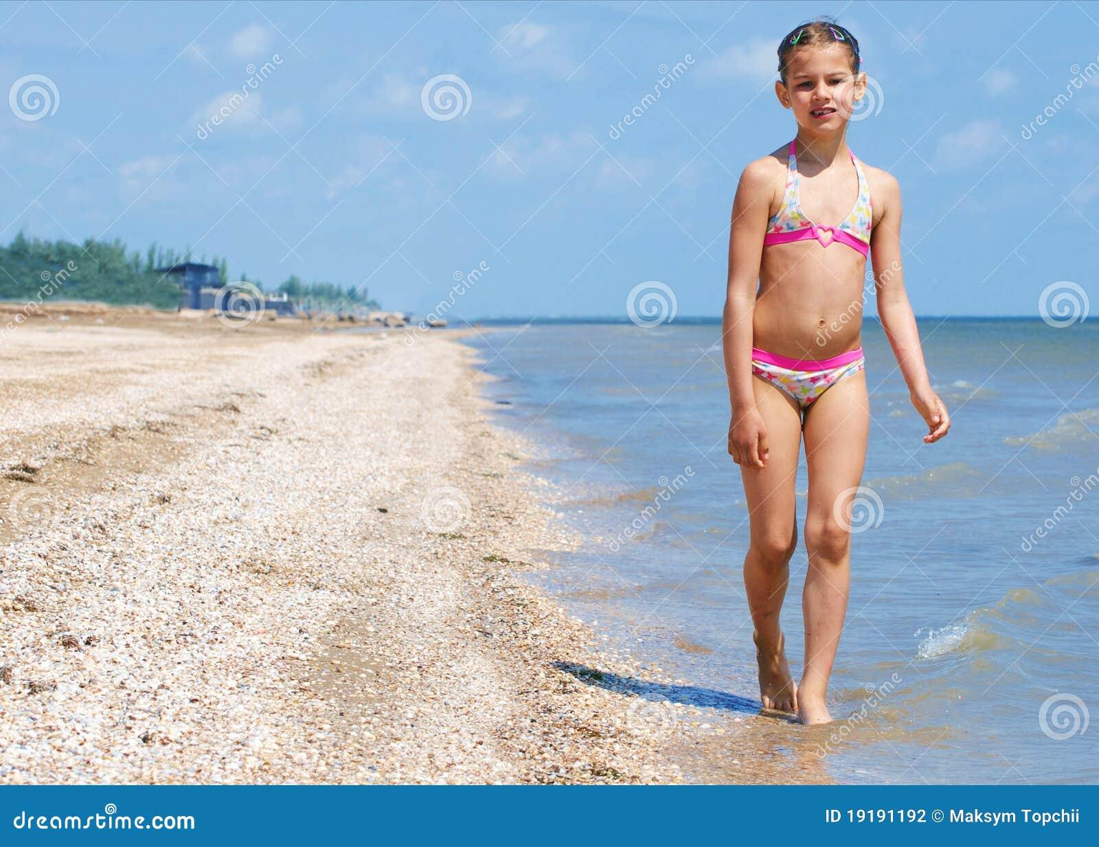 Happy Pretty Beautiful Girl Running On Beach Stock
