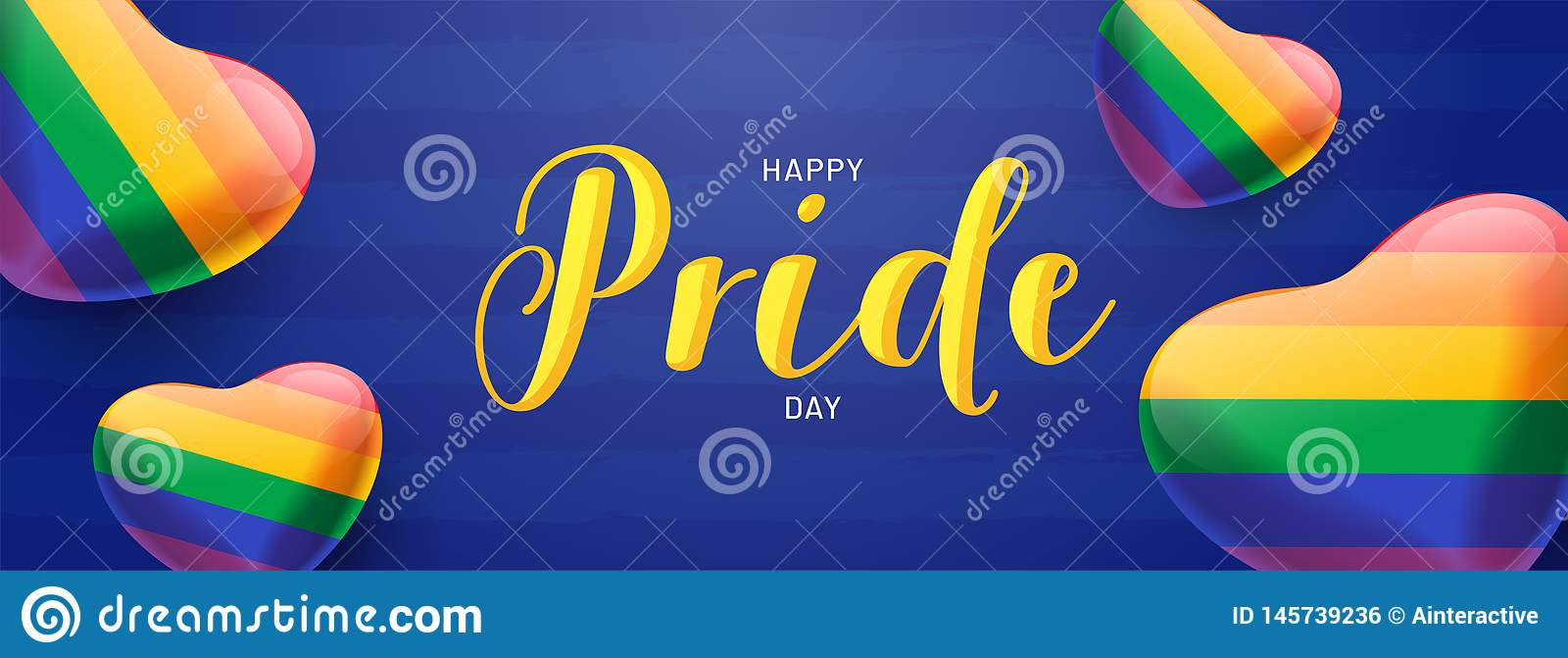 Happy Pride Day banner concept with glossy heartshapes in rainbow color .