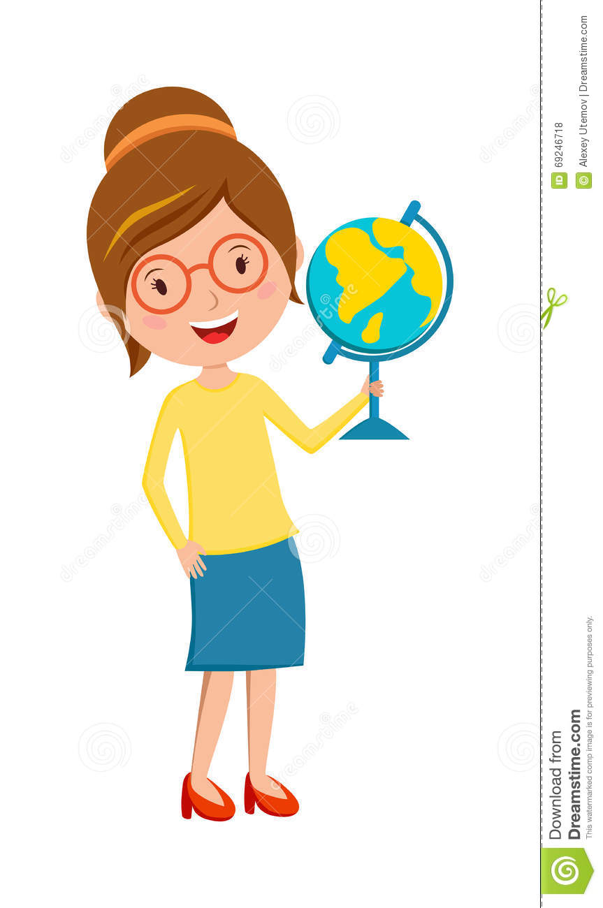 Stock Illustration Happy Primary School Teacher Globe Hand Cartoon Vector Teaching People Occupation Person Young Cheerful Woman Image69246718 on Latest Black Writing Desk