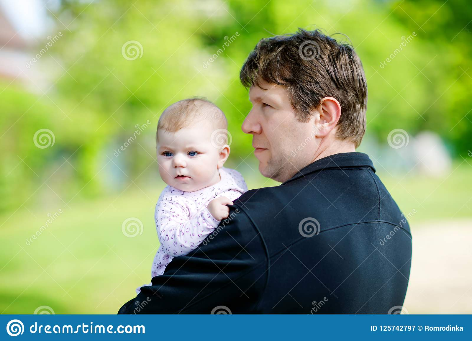 Think, Very young little girl loves daddy think