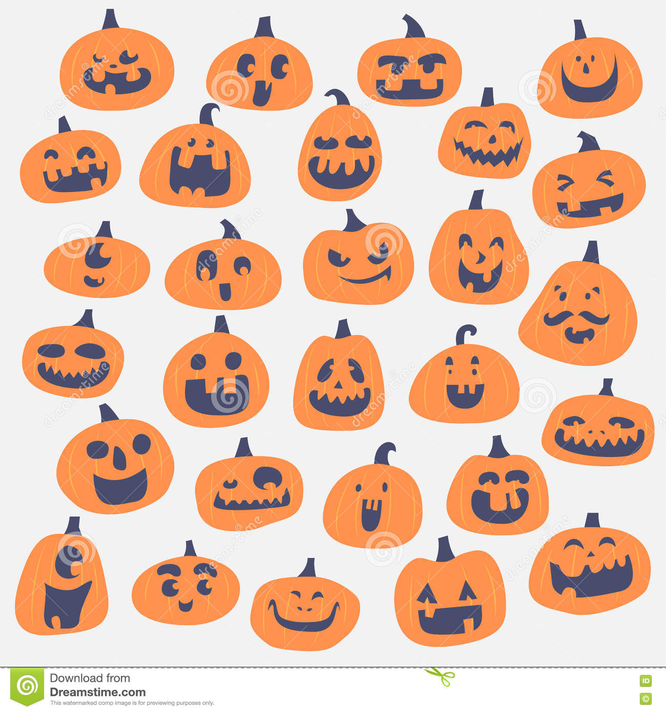 Happy Pumpkin Face Illustration Set Stock Vector Illustration Of Happy Background 78618487
