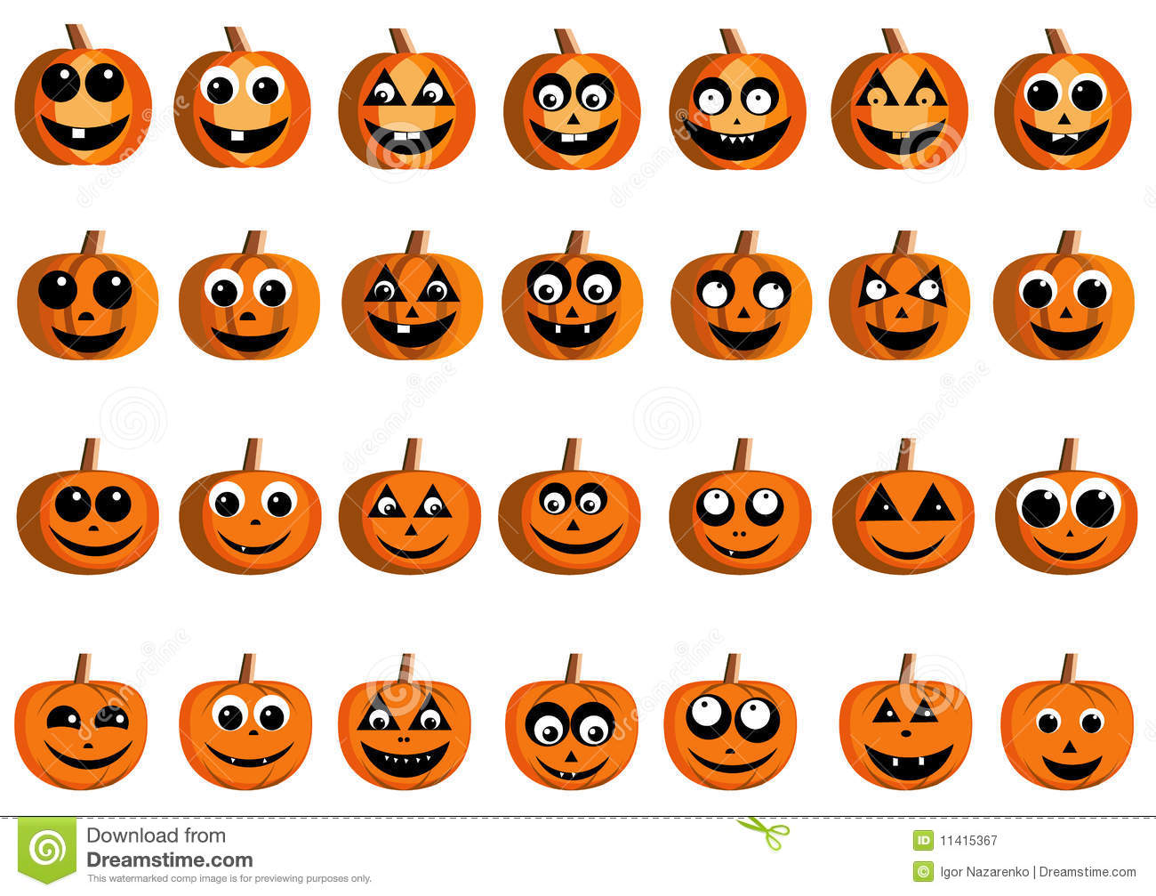 Happy pumpkin faces stock vector. Illustration of happy - 11415367