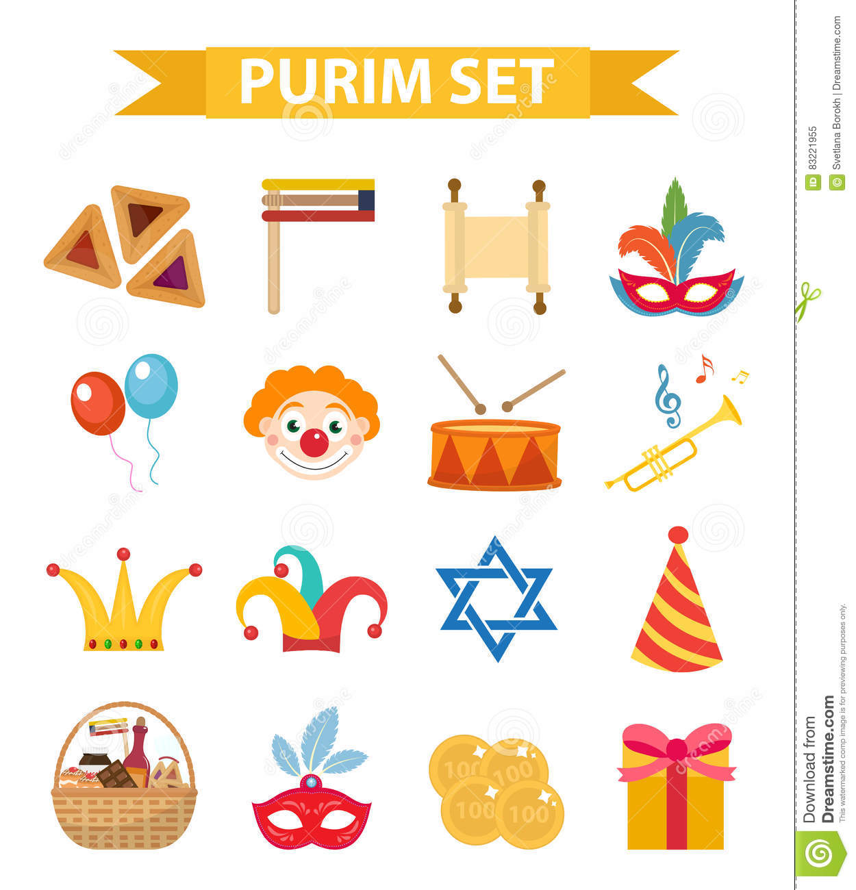 happy purim carnival set of design elements icons jewish holiday rh dreamstime com Jewish Hanukkah Clip Art free jewish holiday clip art