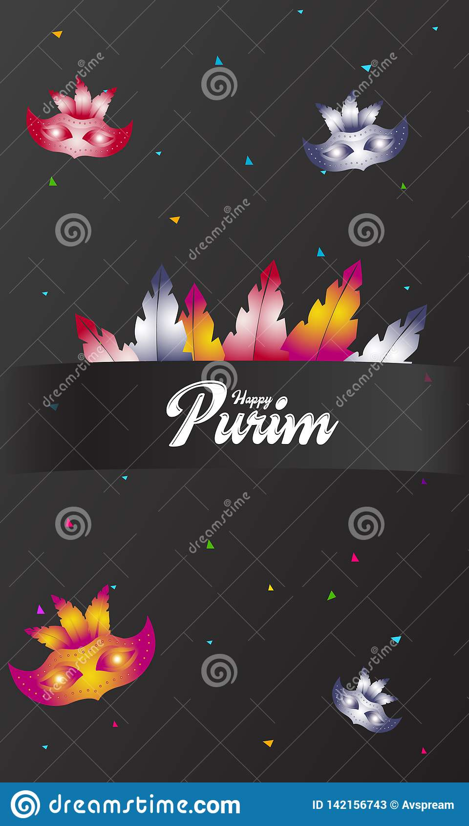 Happy Purim, jewish celebration party invitation (Happy Purim in Hebrew). Carnival mask