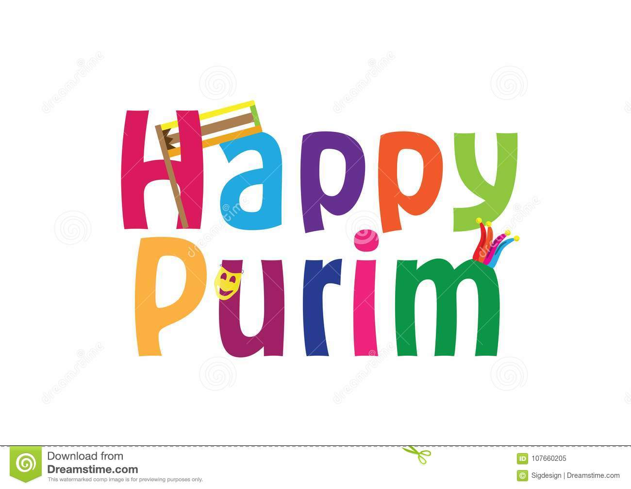 Happy Purim Jewish Holiday English Greeting Banner Stock Vector