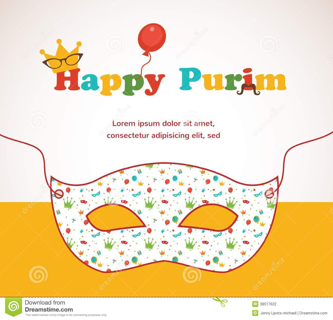 happy purim party invitation design stock vector illustration of
