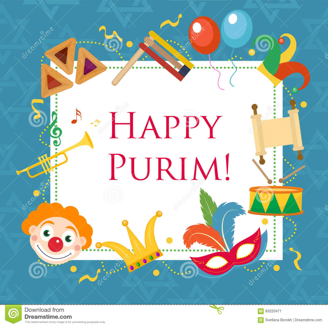 Happy Purim, Template Greeting Card, Poster, Flyer, Frame