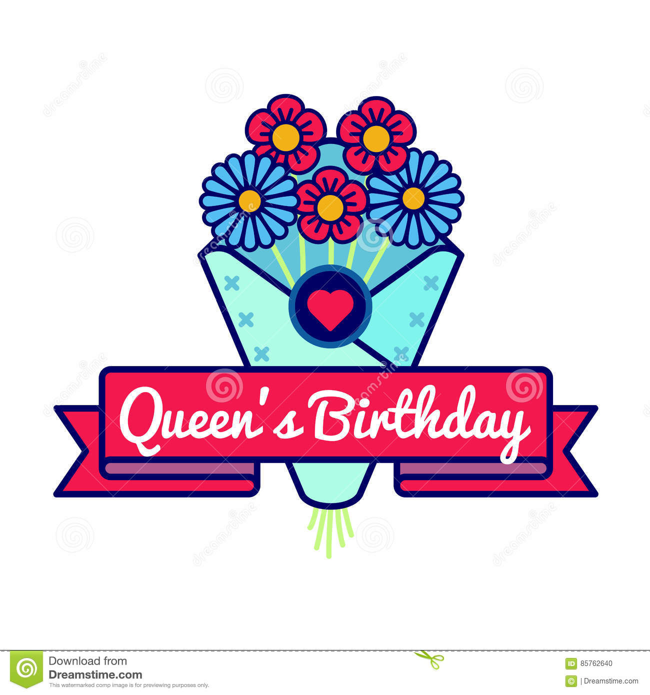 Happy queens birthday greeting emblem stock vector illustration of happy queens birthday emblem isolated vector illustration on white background 10 june british holiday event label greeting card decoration graphic element m4hsunfo