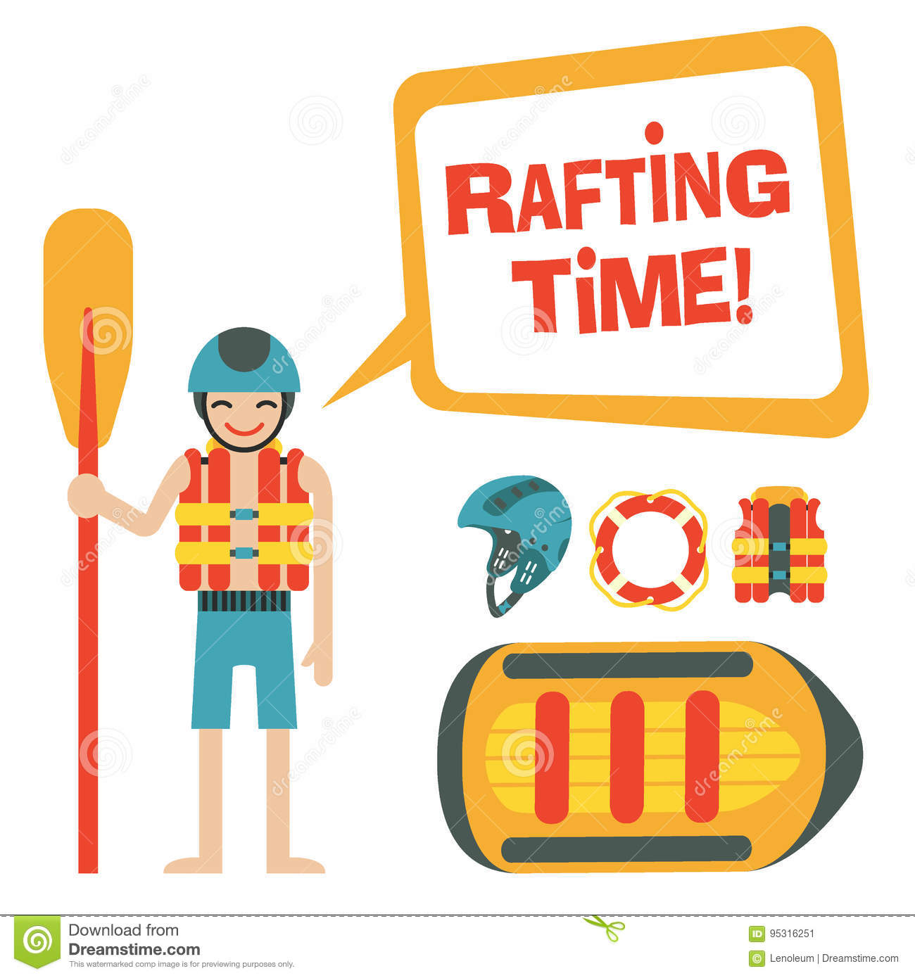 Happy rafter with speech bubble and quote `Rafting time`