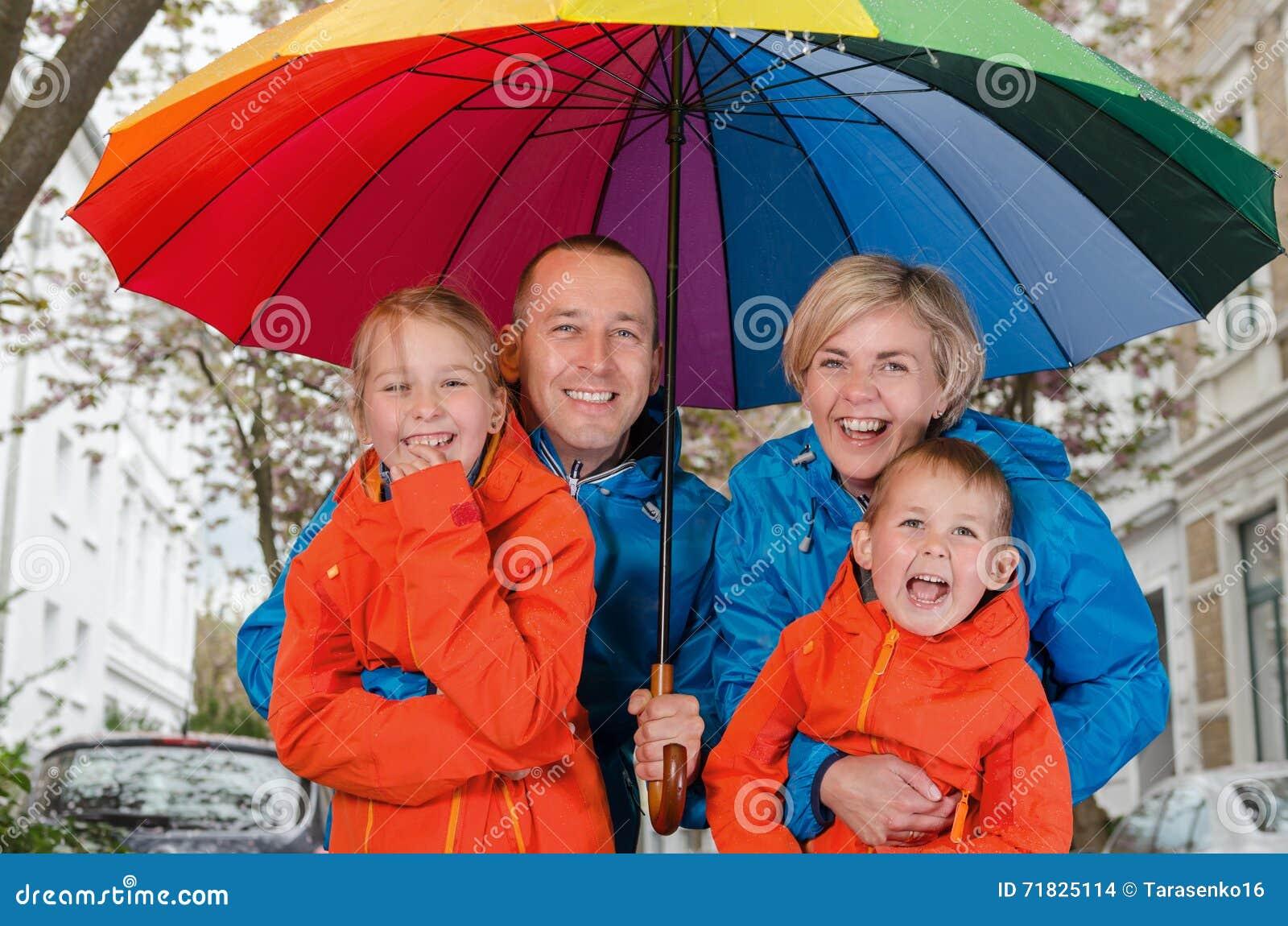 Happy Rain Family Smile Under Umbrella Stock Photo - Image of happy ...