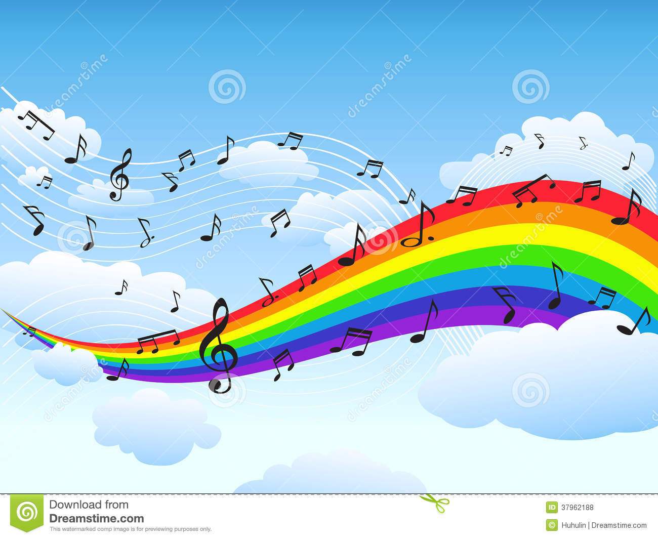 Happy Rainbow With Music Note Background Stock Vector
