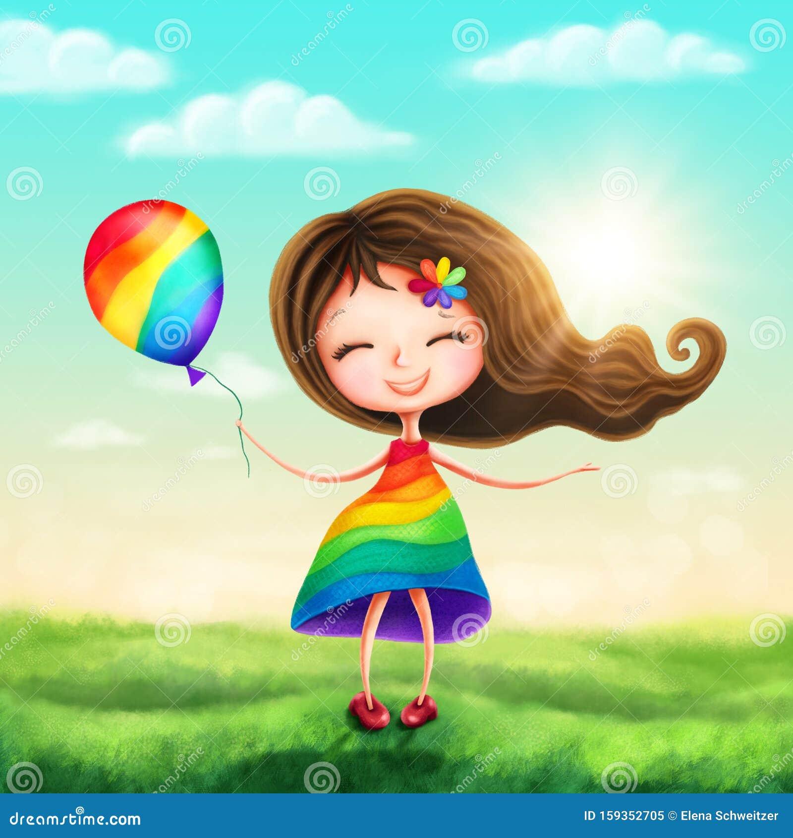 Happy rainbow princess girl
