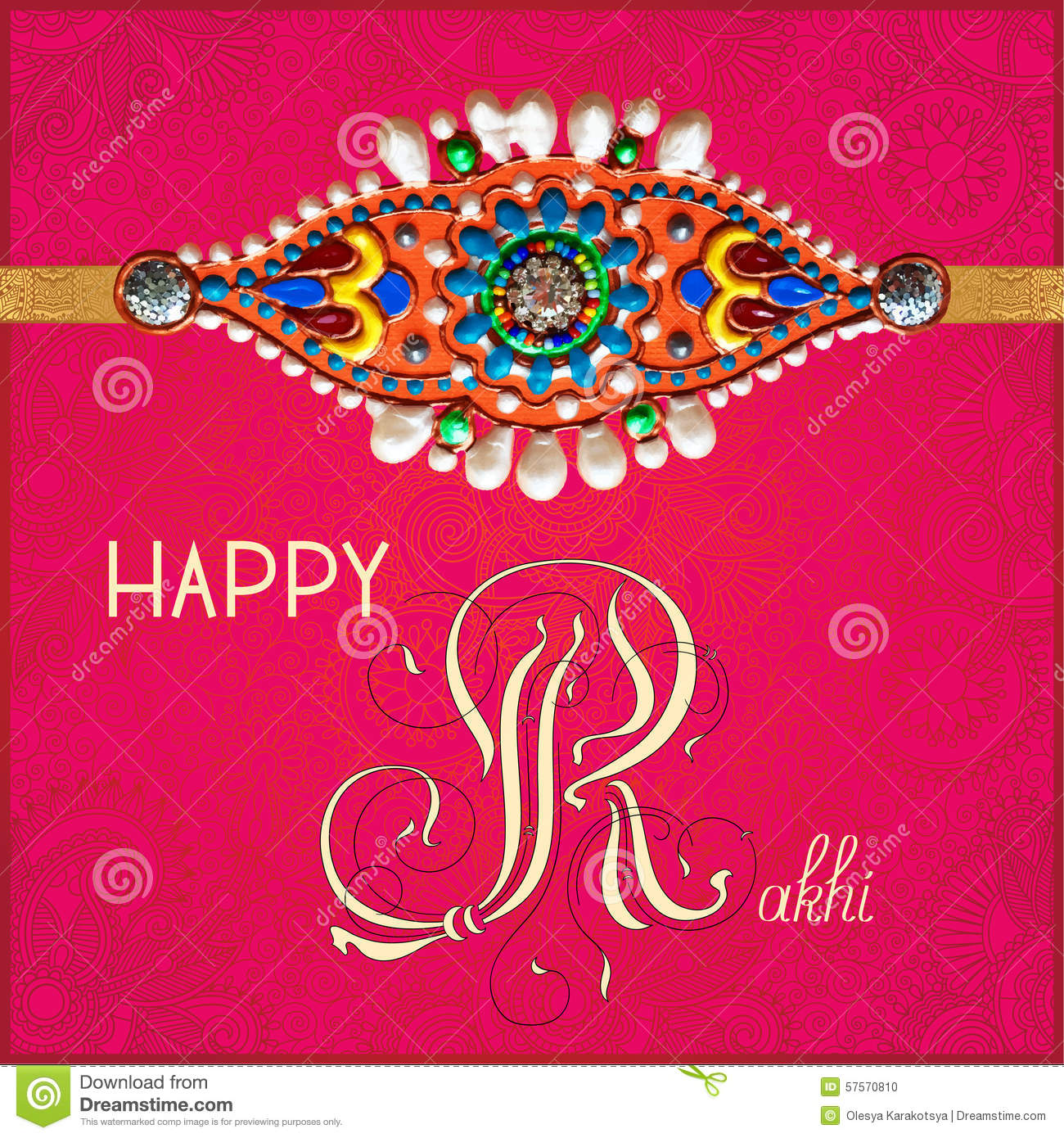 Happy Rakhi Greeting Card For Indian Holiday Stock Vector