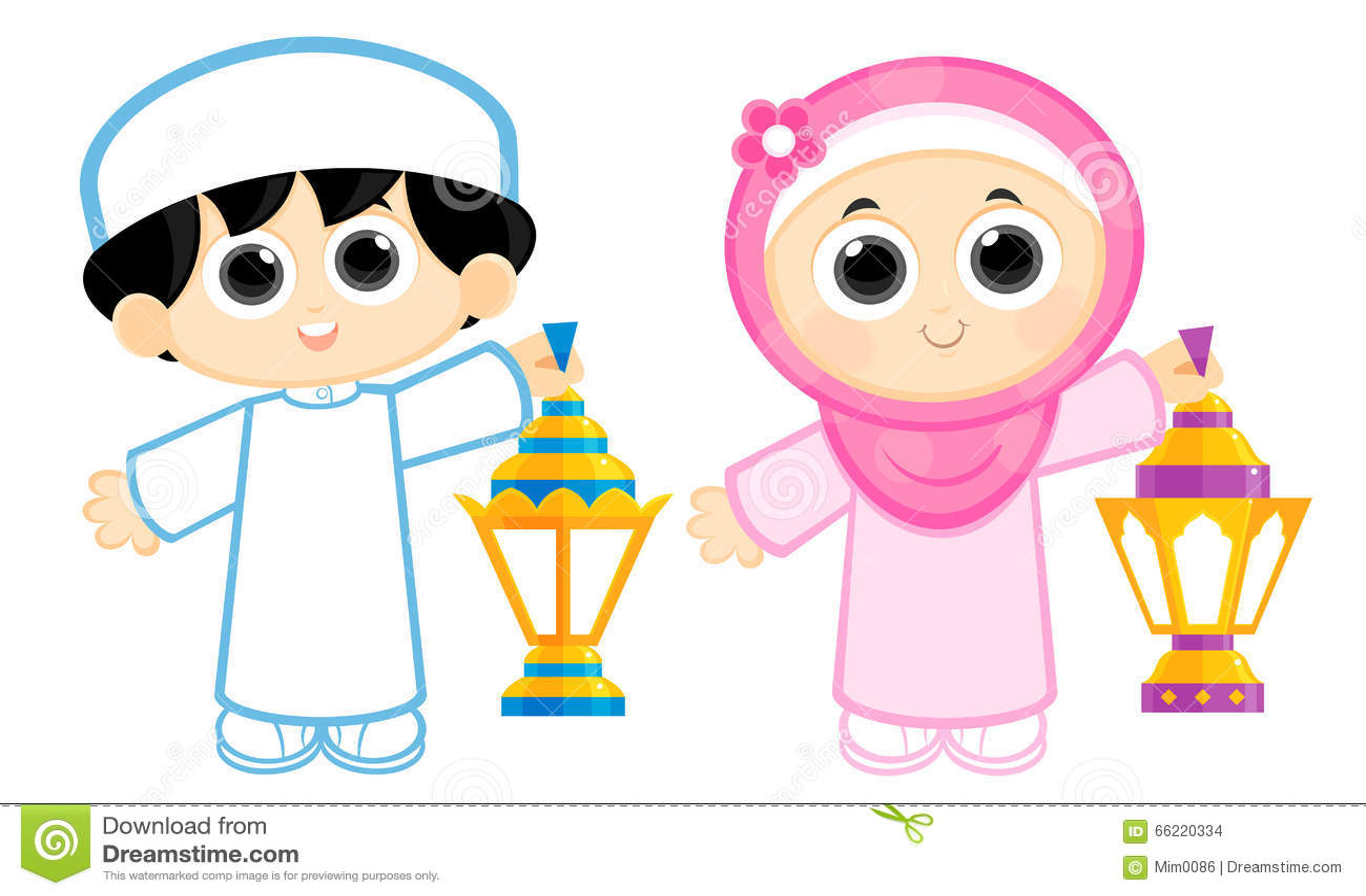 Boy and Girl celebrating Ramadan and carrying Ramadan Lanterns ... Happy Child Clipart