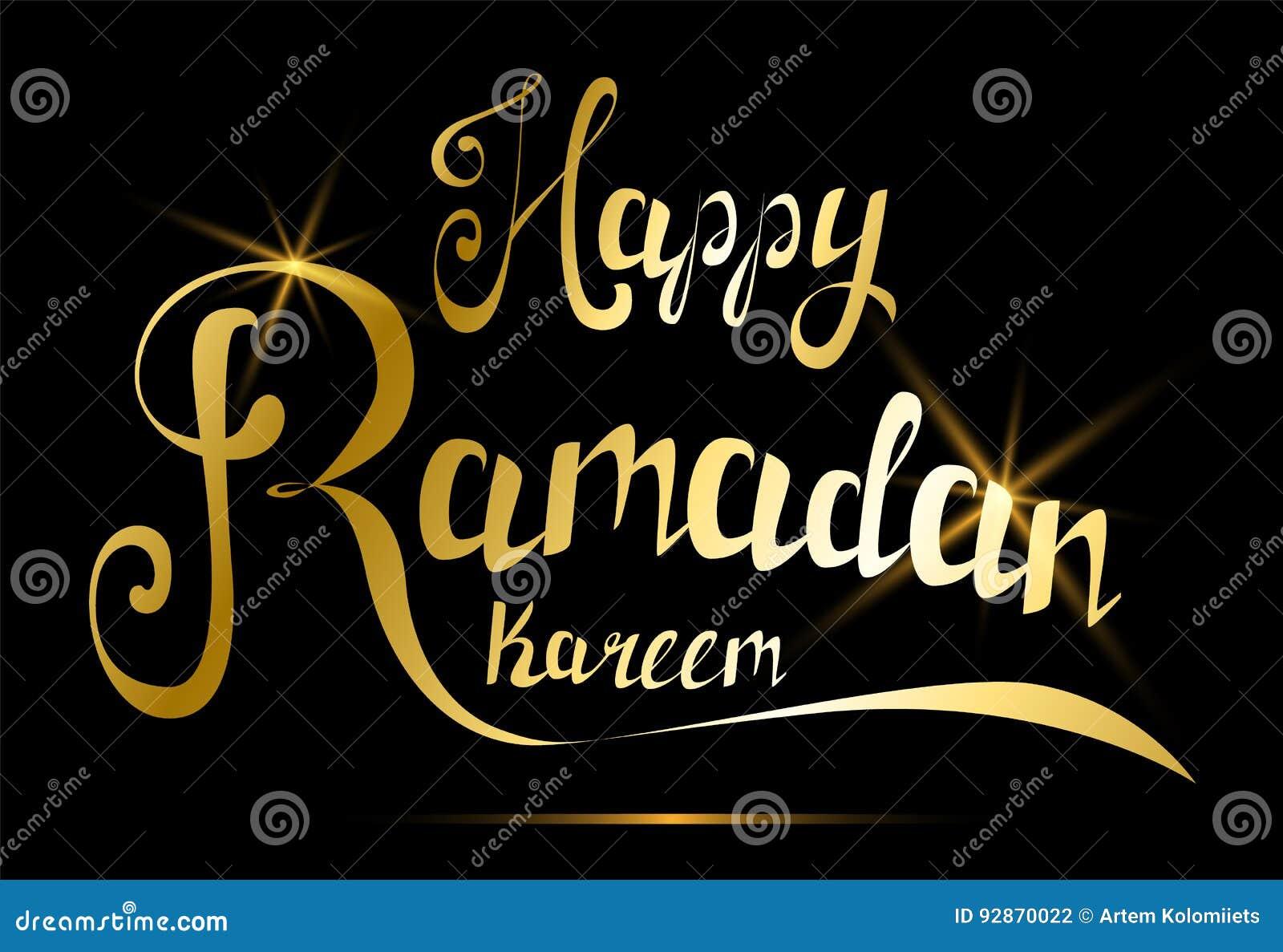 Happy Ramadan Kareem Greeting Card Handmade Golden Lettering For