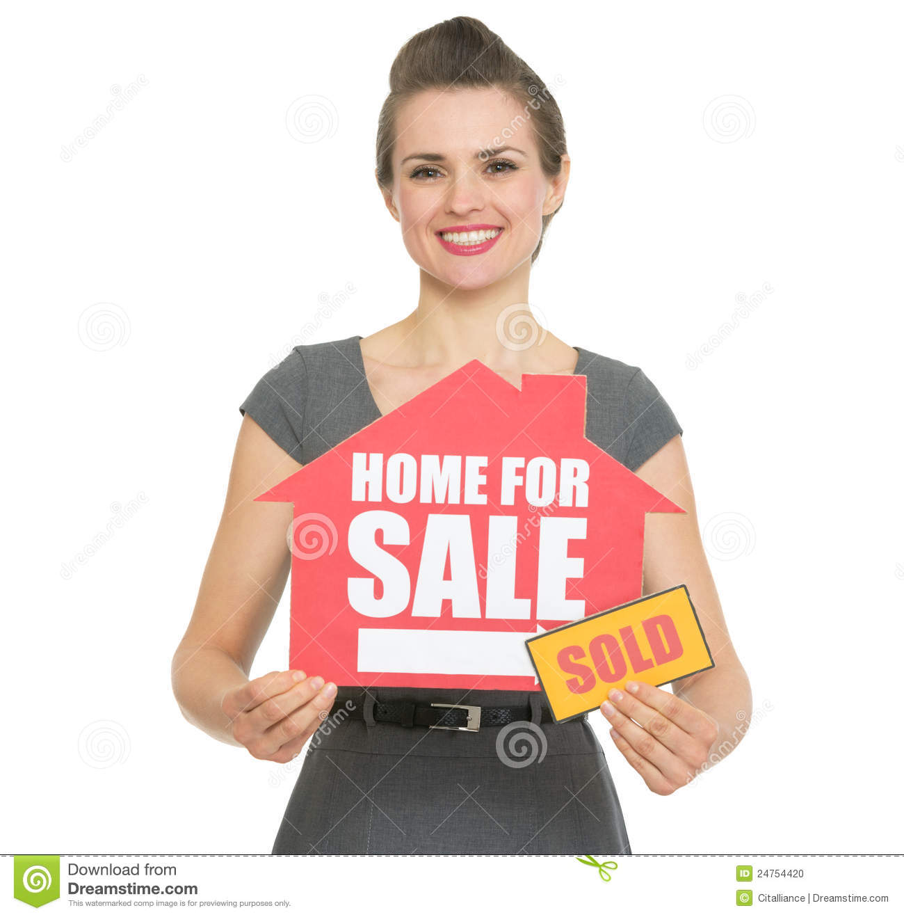 For Sale Sold Sign: Happy Realtor Showing Home For Sale Sold Sign Stock Photo