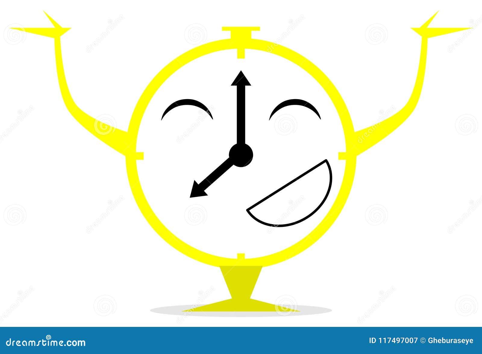 Happy red clock cartoon isolated