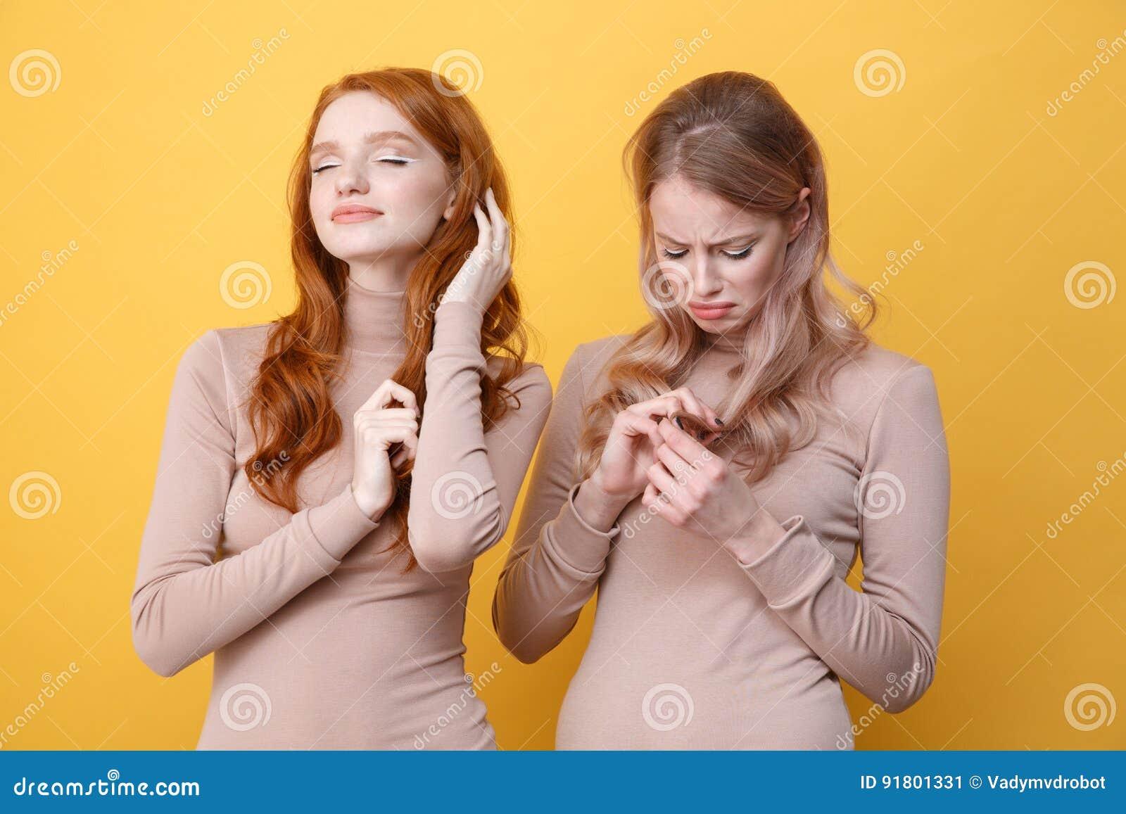 Women touching hair