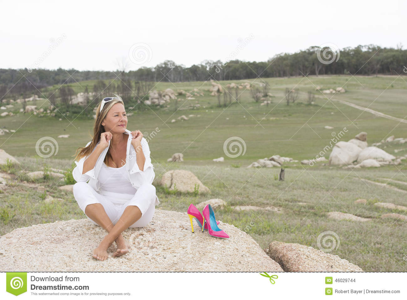 happy relaxed woman outdoor with high heels stock photo - image of
