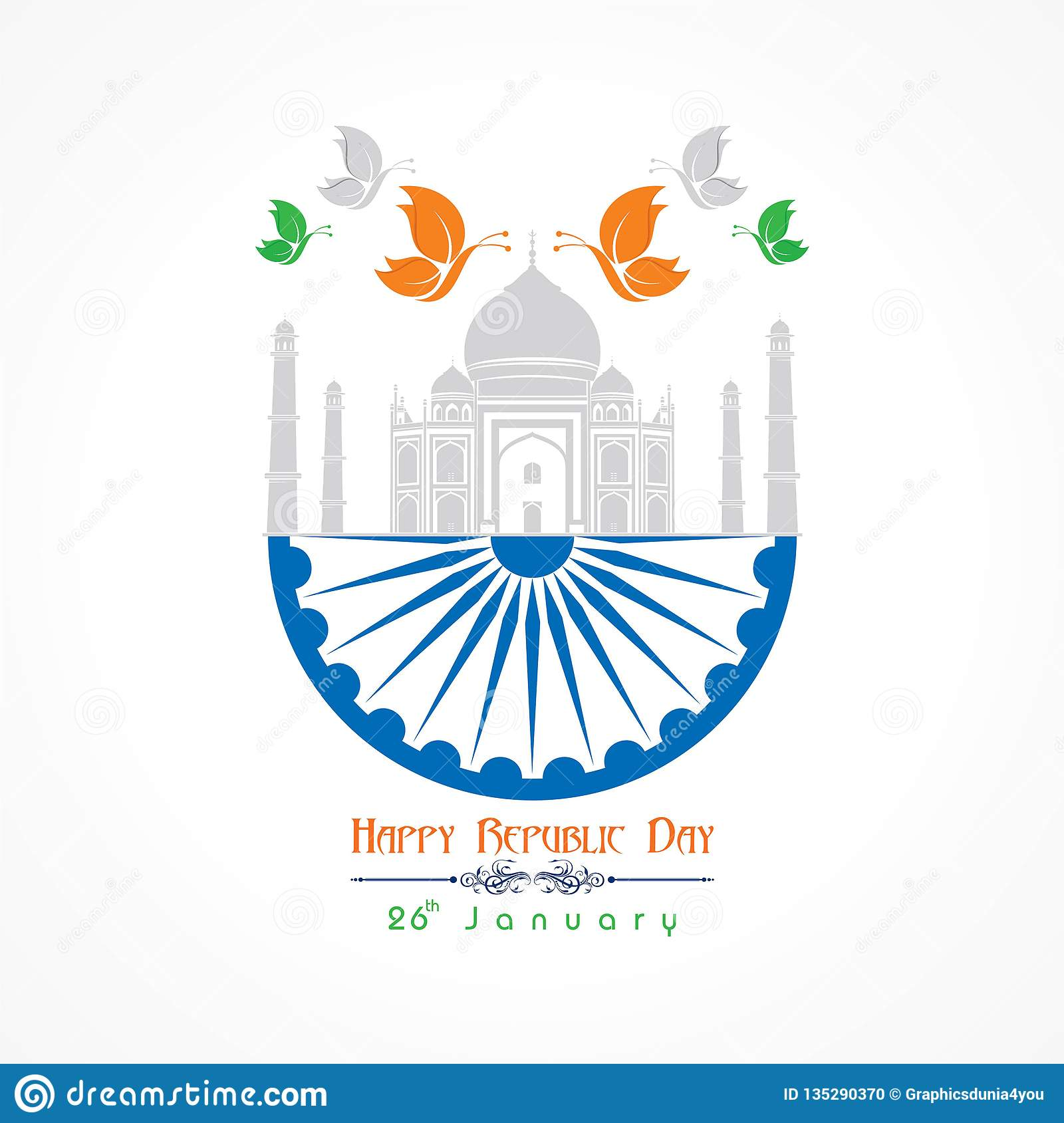 Happy Republic Day Of India Illustration Vector, Poster