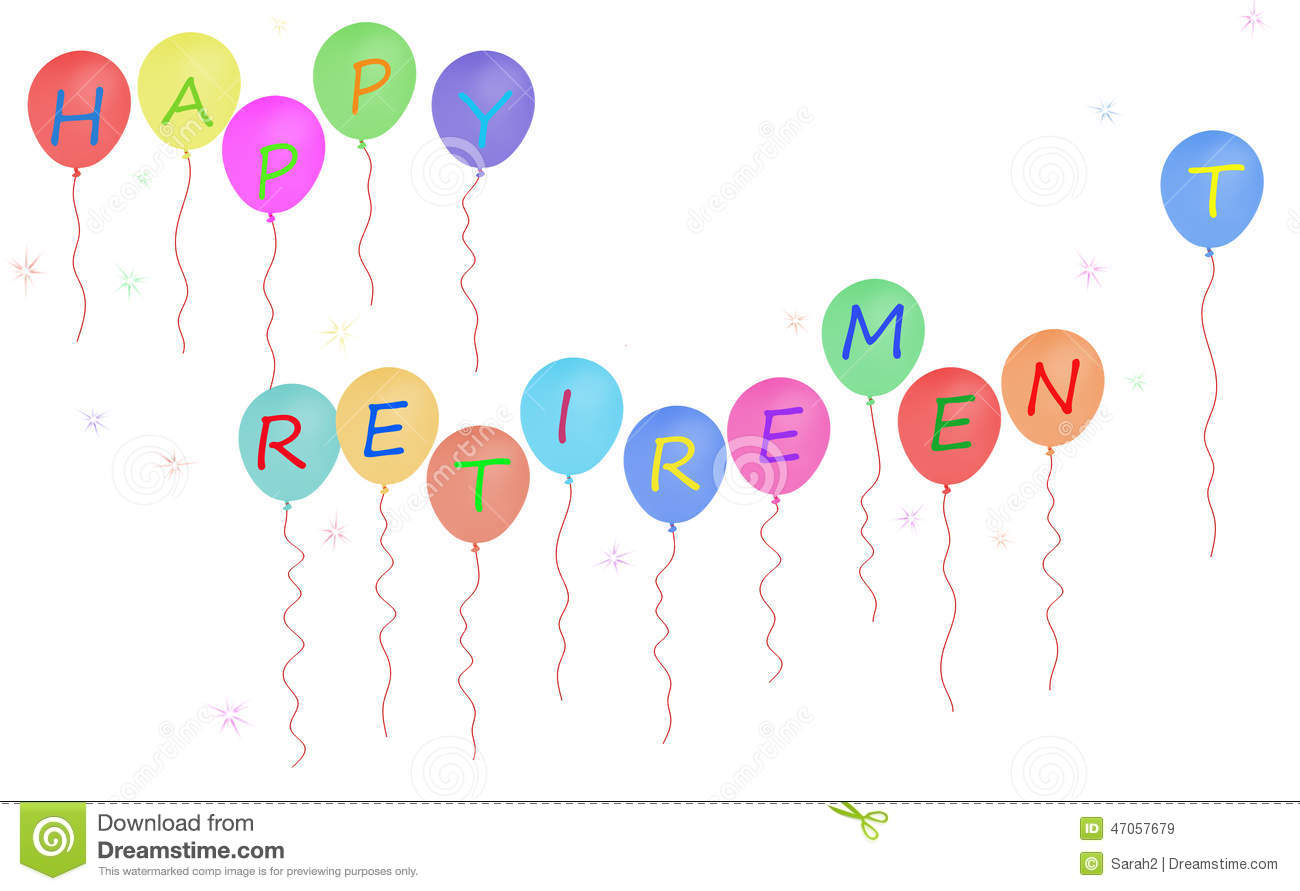 Stock Illustration: Happy retirement party balloon banner, white ...