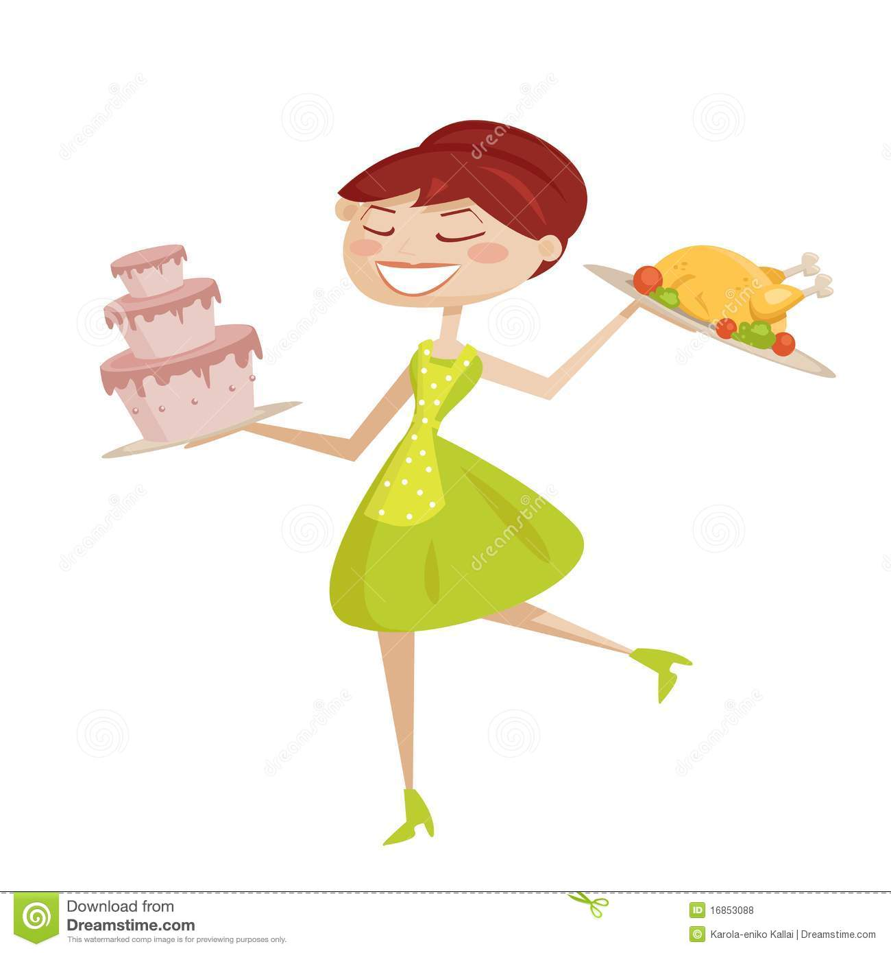 Happy Retro Housewife Isolated Stock Vector - Illustration ...