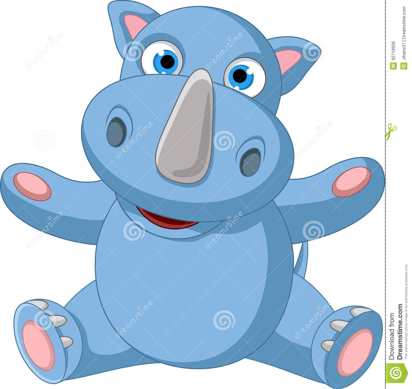 Happy Rhino Cartoon For You Design Royalty Free Stock Image - Image ...