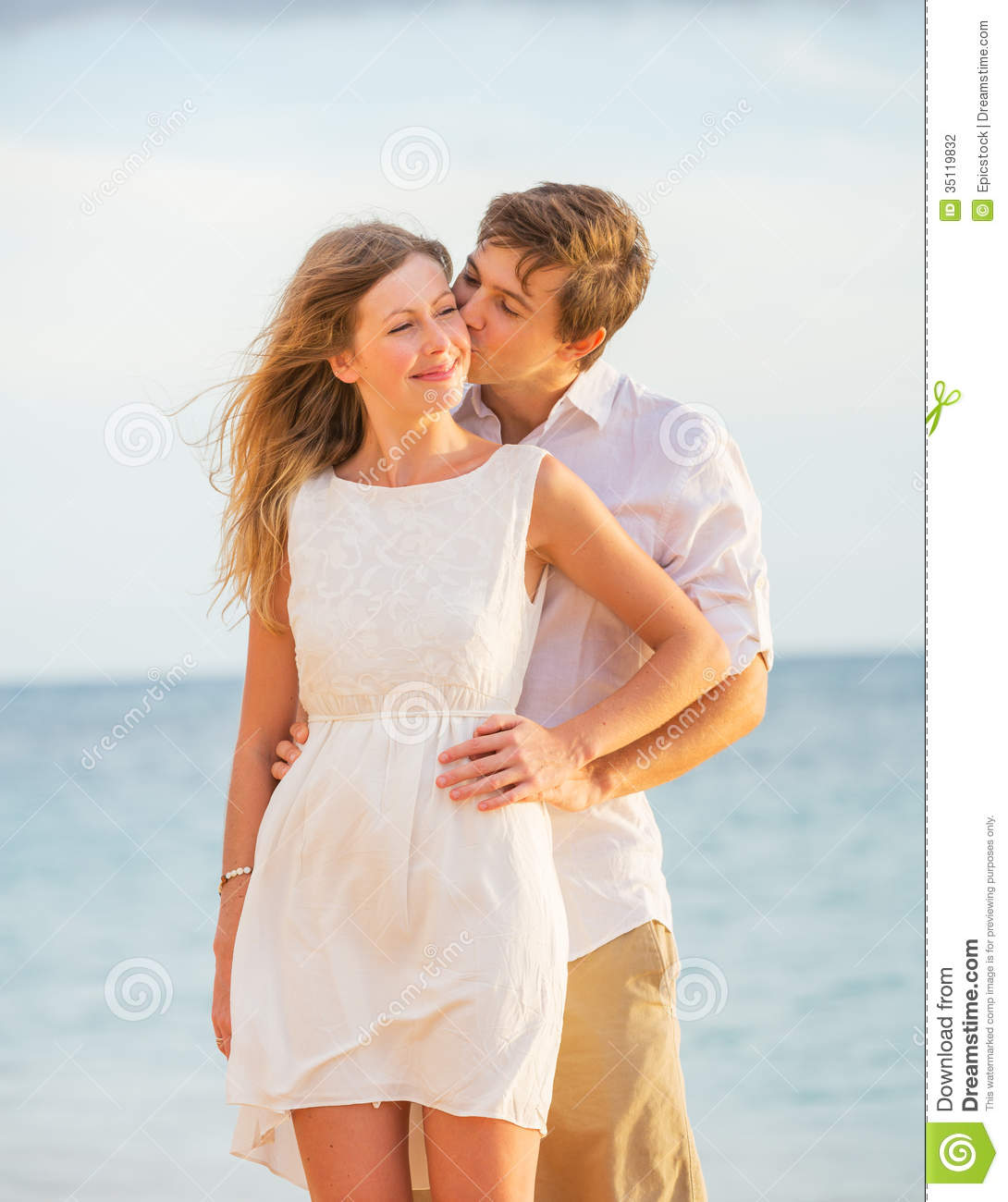 Couple At The Beach Stock Image Image Of Caucasian: Happy Romantic Couple Kissing On The Beach At Sunset Stock
