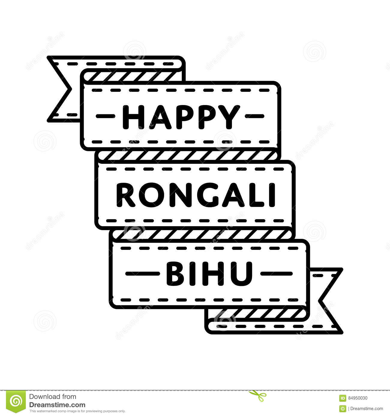 Happy Rongali Bihu Greeting Emblem Stock Vector Illustration Of