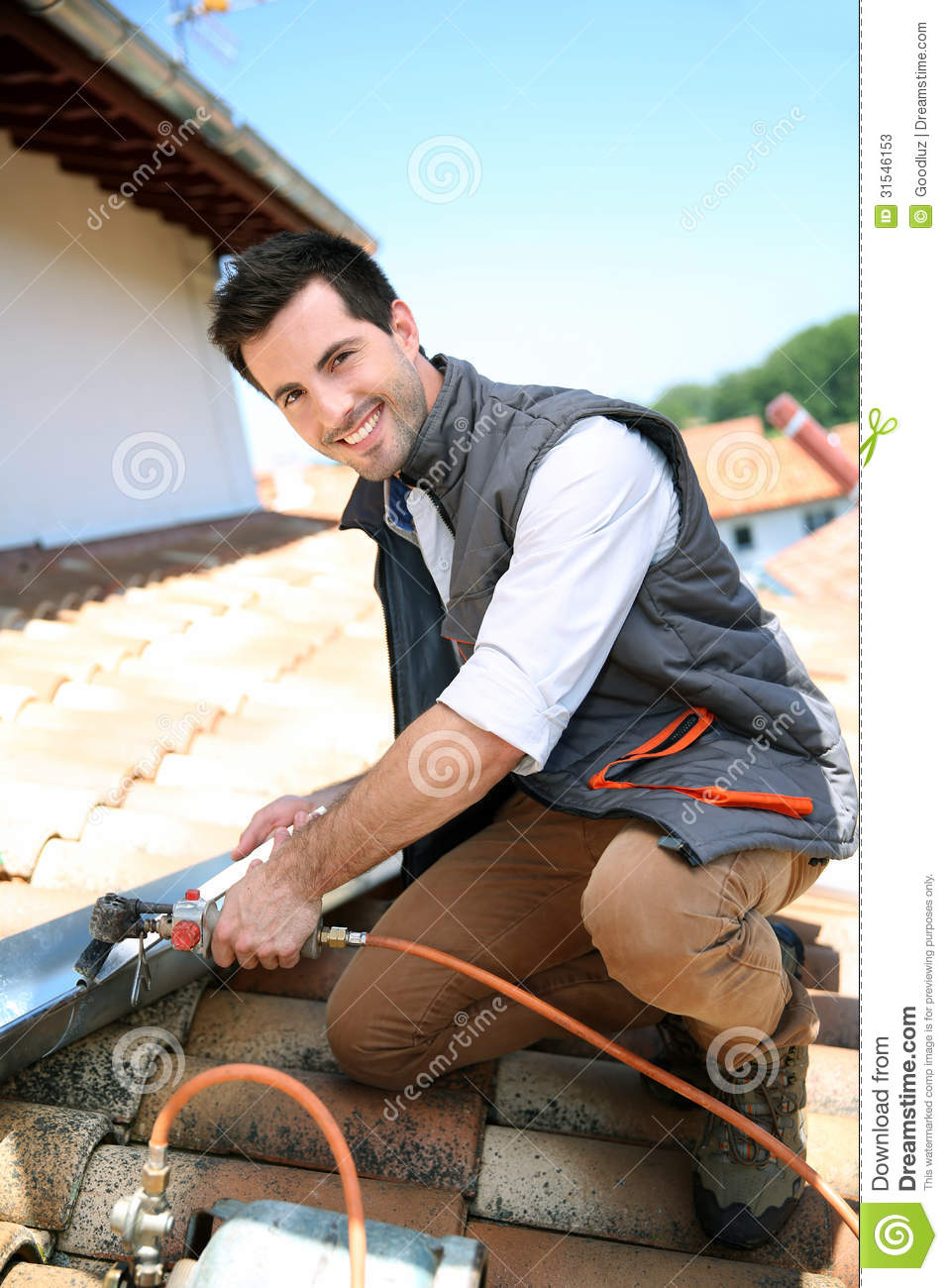 Happy Roofer Working On House Stock Image Image Of