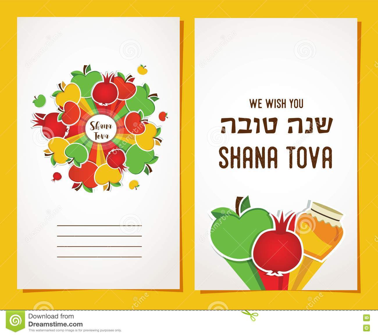 Greeting Cards For Jewish Holiday Happy Sukkot In Hebrew Stock