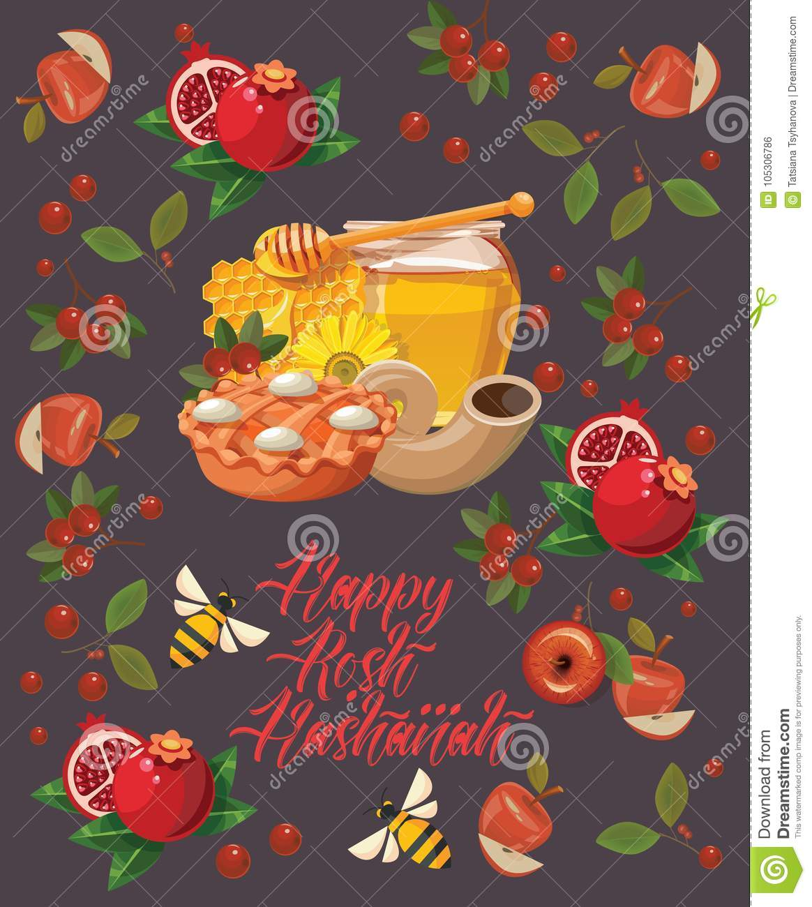 happy rosh hashanah vector greeting card with bees honey and pomegranate new year poster